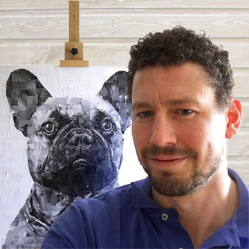 Photo of Artist, Samuel Price with artwork